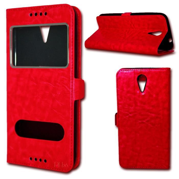 Etui coque housse rouge pour wiko tommy 4g by ph26 for Housse wiko tommy 2