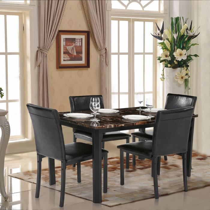 Ikayaa 5pcs set table chaise en marbre cuisine salle for Salle a manger 4 personnes
