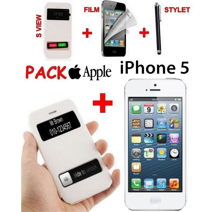 apple iphone 5 view cover film ecran stylet achat. Black Bedroom Furniture Sets. Home Design Ideas