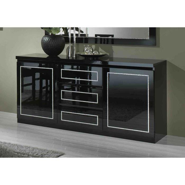 buffet bahut noir laqu 3 portes 3 tiroirs design madelyne. Black Bedroom Furniture Sets. Home Design Ideas