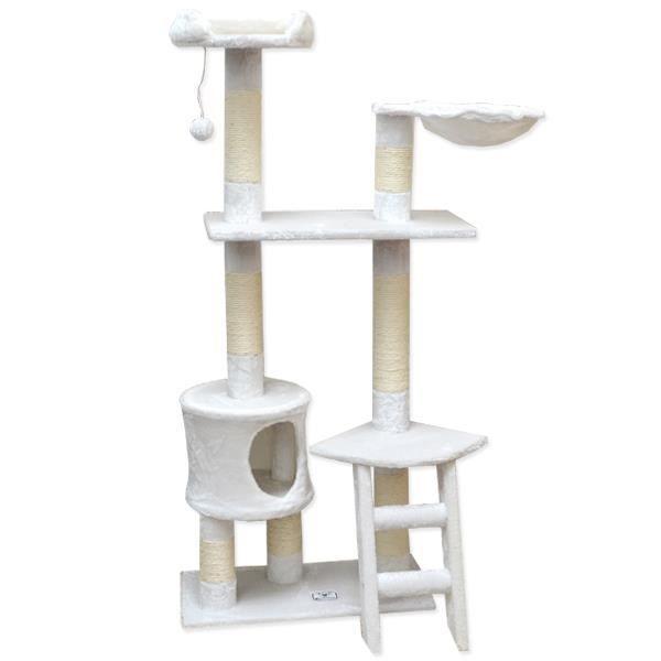 arbre chat en peluche sisal blanc 140 cm achat vente arbre chat arbre chat en peluche. Black Bedroom Furniture Sets. Home Design Ideas