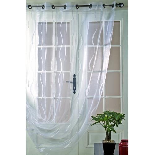 Voilage motif longues lianes blanc 200 x 240cm achat vente rideau voila - Voilage organza blanc ...