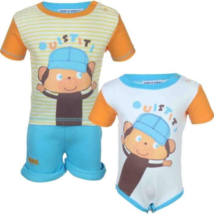 Tom kids ensemble short t shirt avec body b b gar on ouistiti vert orange achat vente - Bebe gar kamer model ...