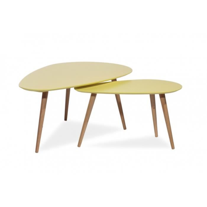 Table basse design nalan b jaune achat vente table for Table design jaune