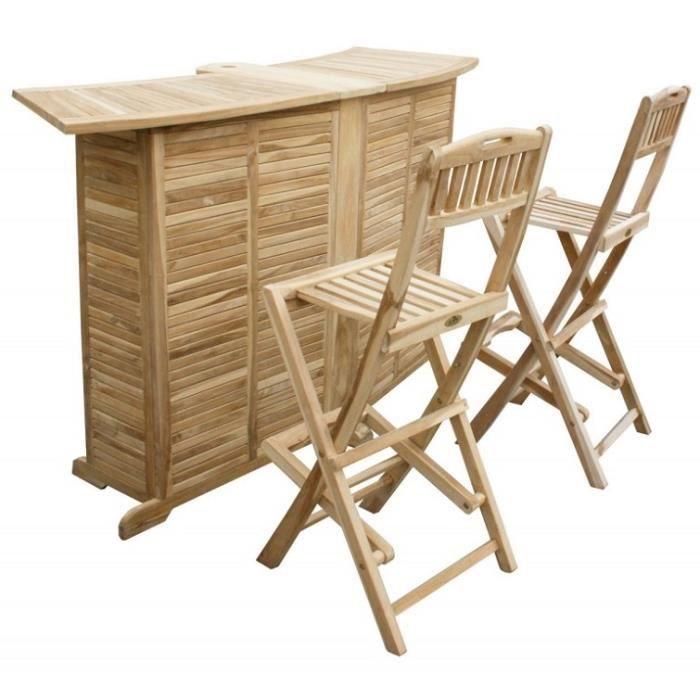 ensemble bar et 2 tabourets pliable en teck avec trou. Black Bedroom Furniture Sets. Home Design Ideas