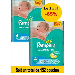 COUCHE PAMPERS baby dry taille 4 (7-14 kg) pack 152 couch