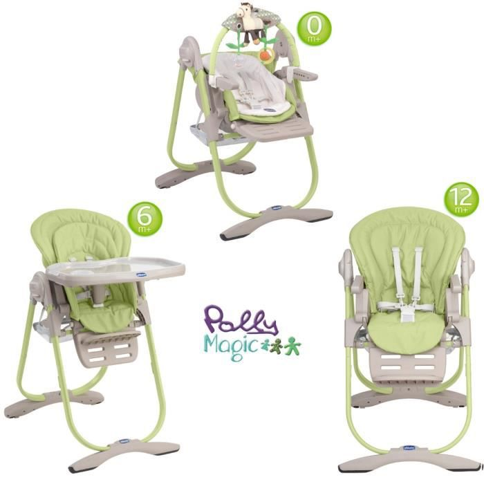 Chicco chaise haute 3en1 polly magic lime achat vente for Chaise haute chicco polly magic
