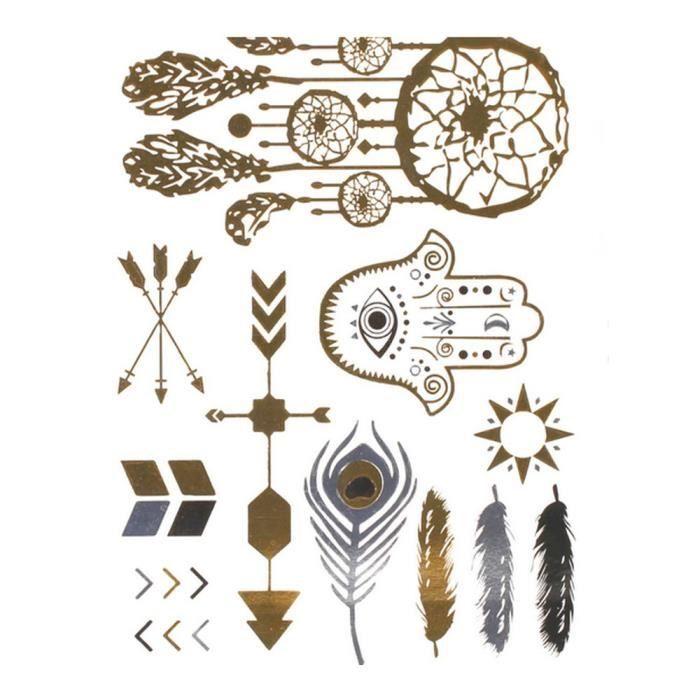 tatouages eph m res couleur m tal attrape reve plume bijoux de peau tattoo achat vente tatoo. Black Bedroom Furniture Sets. Home Design Ideas