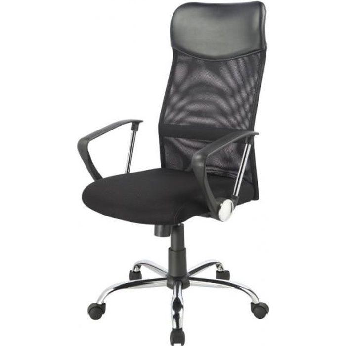 fauteuil de bureau chaise si ge de bureau respirant ergonomique noir 0509010. Black Bedroom Furniture Sets. Home Design Ideas