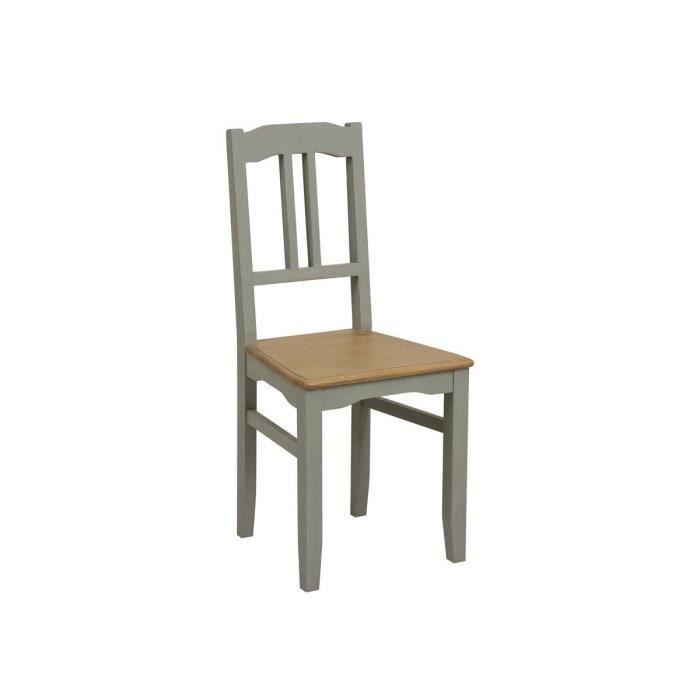 Lot de 2 chaises assise bois gris achat vente chaise for Assise de chaise