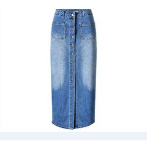 jupe longue en jean taille haute avec fermeture par boutons pour femme bleu bleu achat vente. Black Bedroom Furniture Sets. Home Design Ideas