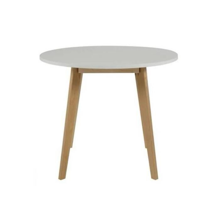 Table ronde mani o 90 cm blanc achat vente table a - Table ronde blanc ...