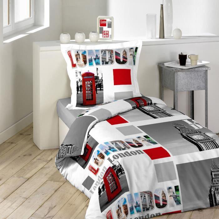 housse de couette 14x200 london brittany 100 coton 42 fils cm 2 taies achat vente housse. Black Bedroom Furniture Sets. Home Design Ideas