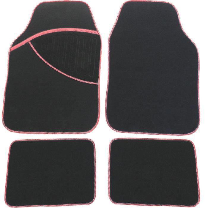 4 tapis sol moquette pour voiture auto rouge noir achat vente tapis de sol 4 tapis sol. Black Bedroom Furniture Sets. Home Design Ideas