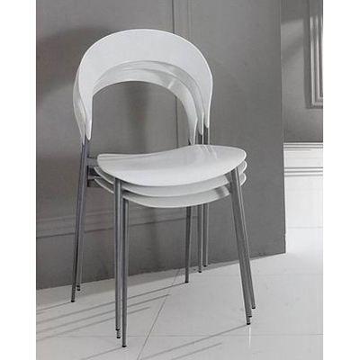 chaise empilable design blanche lot de 4 chaise achat. Black Bedroom Furniture Sets. Home Design Ideas