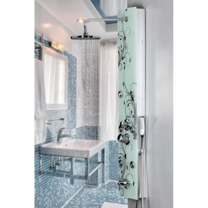 colonne de douche en verre avec motif fleurs 130 c achat vente colonne de douche colonne de. Black Bedroom Furniture Sets. Home Design Ideas