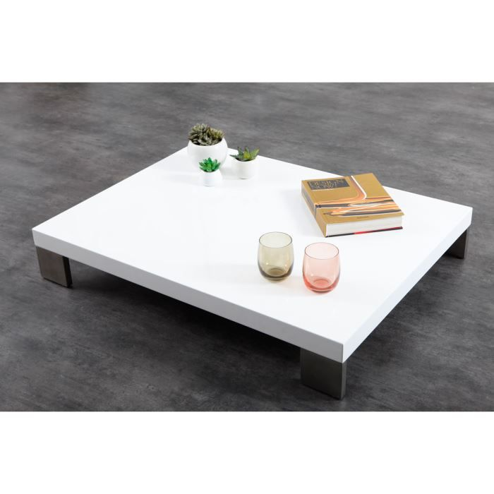 Miliboo table basse design laqu e blanche ham achat vente table basse - Table basse pratique ...