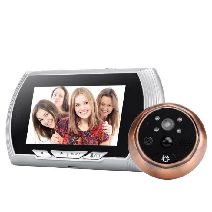 camera oeilleton de porte ecran lcd 4 3 pouces 720p 140 detection de mouvement mod le argent. Black Bedroom Furniture Sets. Home Design Ideas