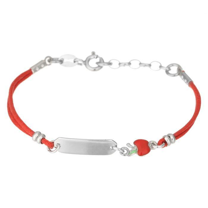 bracelet argent 925 1000 et cordon rouge orn d 39 une plaque argent et d 39 une pomme fantaisie de. Black Bedroom Furniture Sets. Home Design Ideas