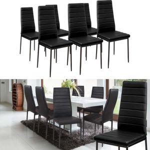 CHAISE Lot de 6 chaises salle à manger noires