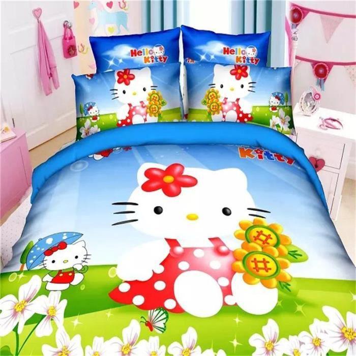 parure de lit parure de couette hello kitty enfant 100 polyester 1 housse de couette 140x200cm. Black Bedroom Furniture Sets. Home Design Ideas