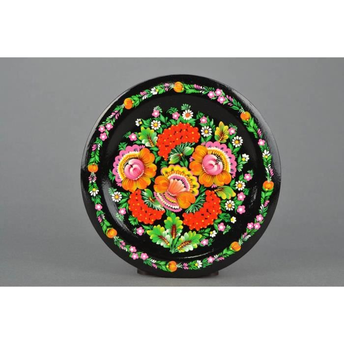 assiette d corative murale en bois peinture petrikivka faite main cadeau pour femme achat. Black Bedroom Furniture Sets. Home Design Ideas