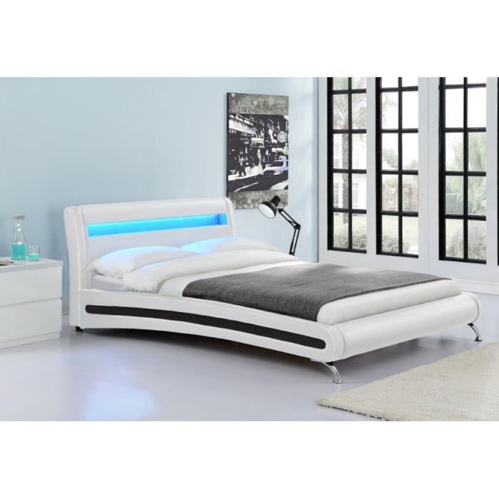 Lit led pu blanc shiny 140x190 achat vente structure de lit cadeaux de - Lit 140x190 cdiscount ...