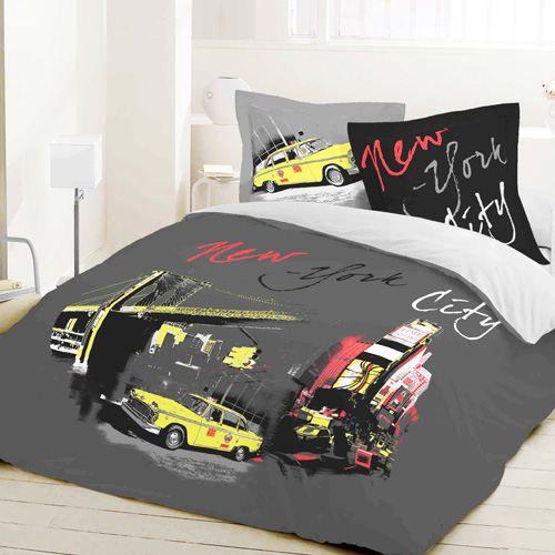Housse de couette et deux taies yellow cab achat vente parure de lit cd - Couette deux personnes ...