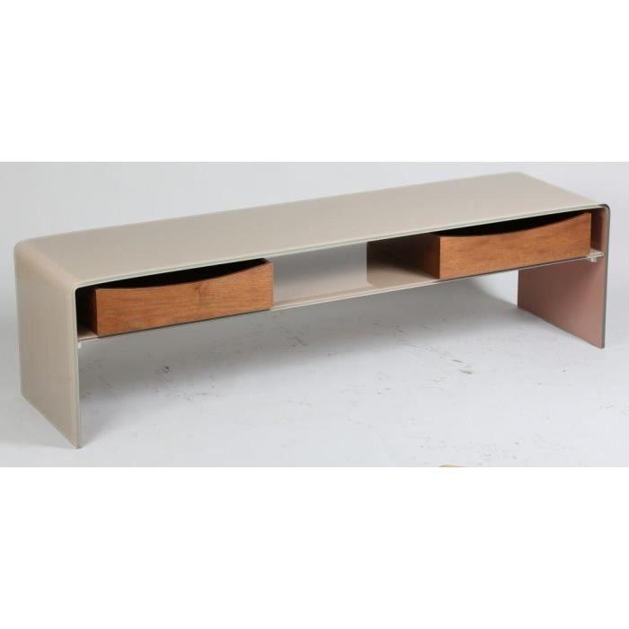 Meuble tv loft en verre taupe 2 tiroirs achat vente - Meuble tv laque taupe ...