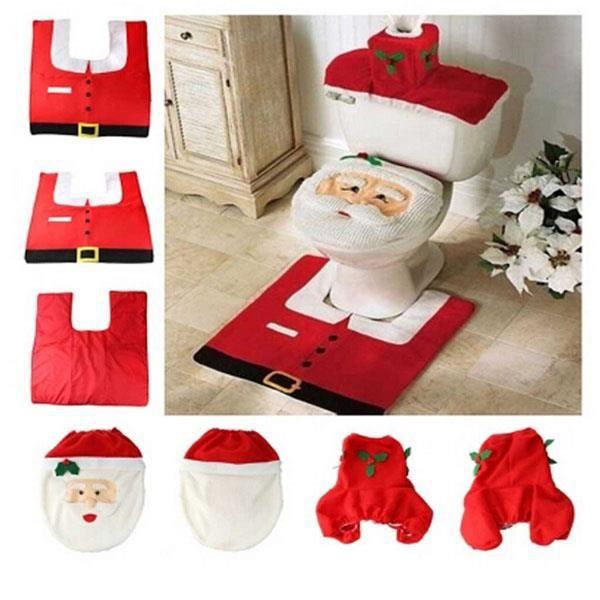 3pcs decorations de noel housse abattant de toilettes - Housse abattant wc ...