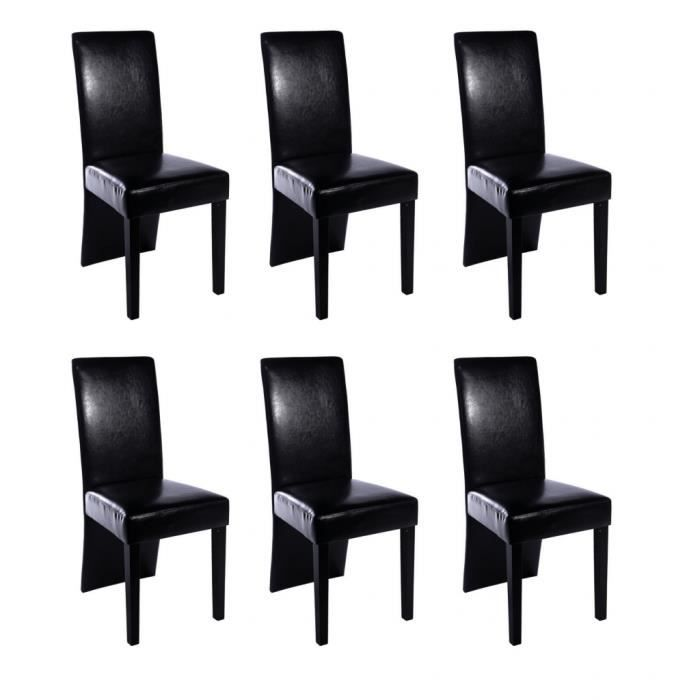 chaise design bois noir lot de 6 simili cuir bois achat vente chaise bois cuir cdiscount. Black Bedroom Furniture Sets. Home Design Ideas