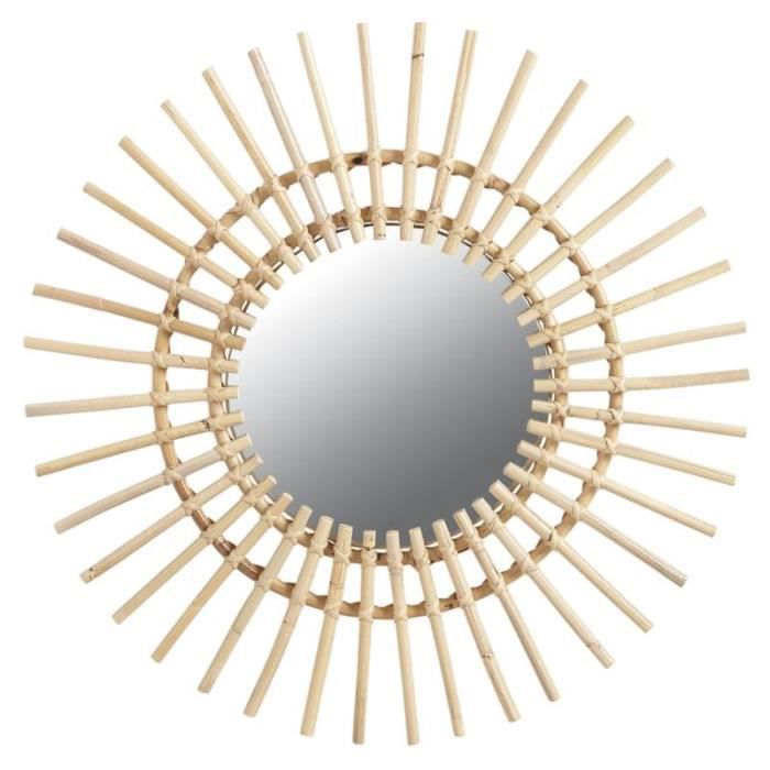 Miroir soleil en rotin 55 cm achat vente miroir for Miroir design soleil