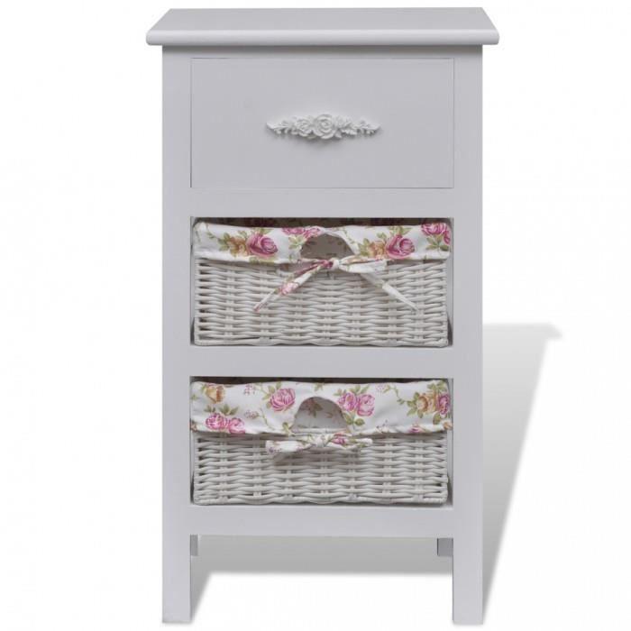 Armoires et meubles de rangement chiffonnier blanc en bois for Rangement tiroir blanc