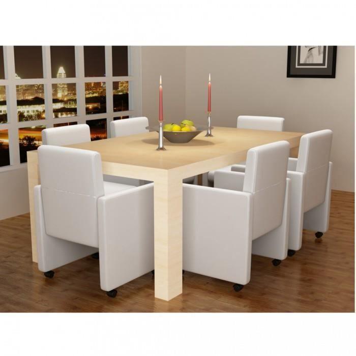 chaises de cuisine et de salle a manger fauteuil a roulettes blanc lot de 6 achat vente. Black Bedroom Furniture Sets. Home Design Ideas