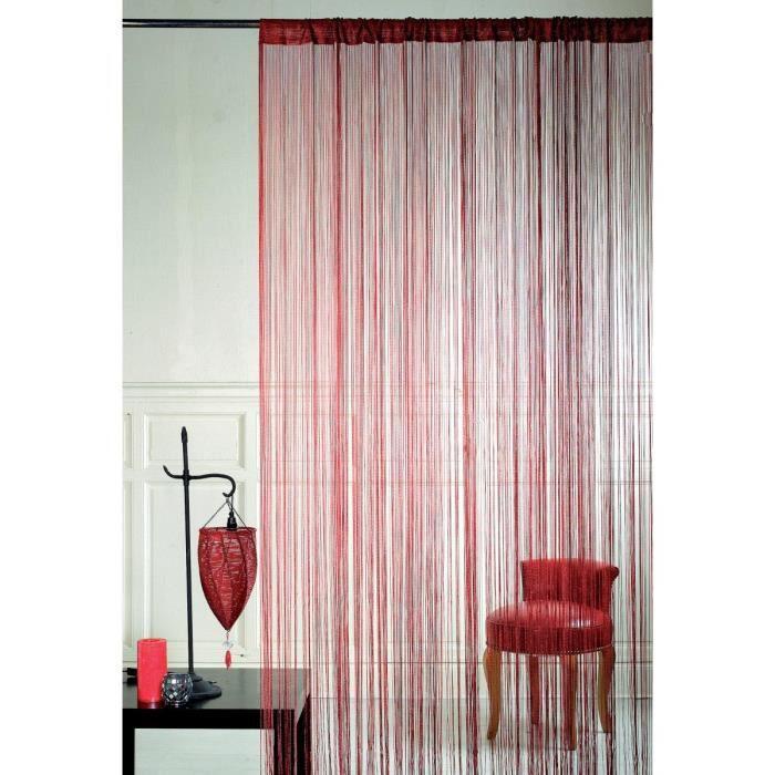 paire de rideaux a fils rideaux de porte couleur rouge 90 x 240 achat vente rideau de porte. Black Bedroom Furniture Sets. Home Design Ideas