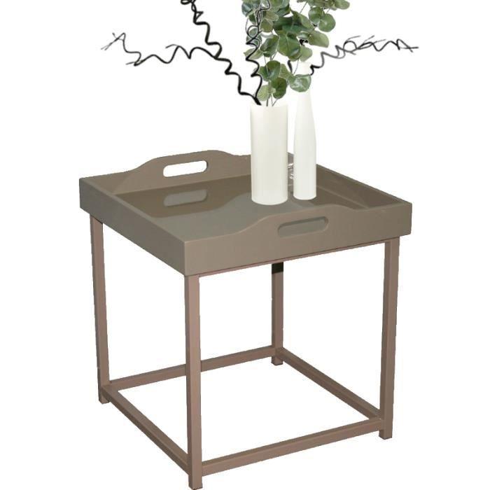 Table Basse Bout De Canap Plateau Amovible M Tal Et Bois Laqu Taupe Rendu Glossy