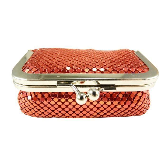 Porte monnaie bourse femme fermoir clic clac strass miroir de poche rou - Clic clac petite taille ...