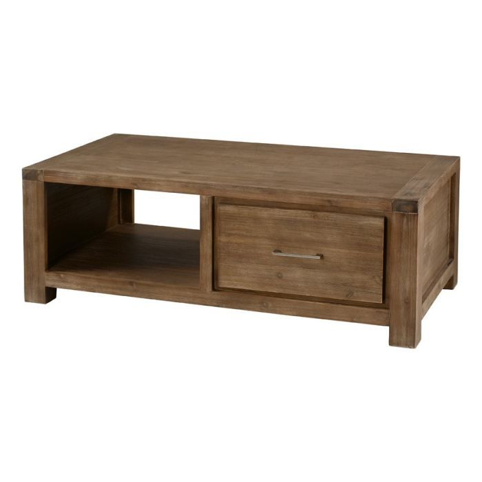 Table basse acacia gris 2 niches et 2 tiroirs achat for Table basse carree grise
