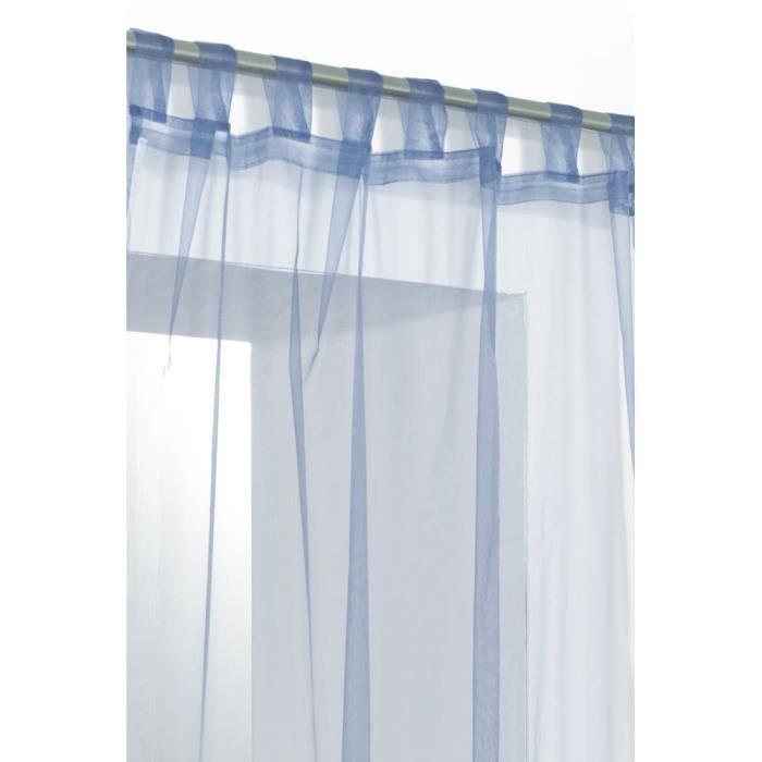 rideau voilage organza uni a pattes bleu profond achat vente rideau voilage rideau voilage. Black Bedroom Furniture Sets. Home Design Ideas