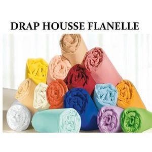 DRAP HOUSSE drap housse flanelle 90x190 bleu