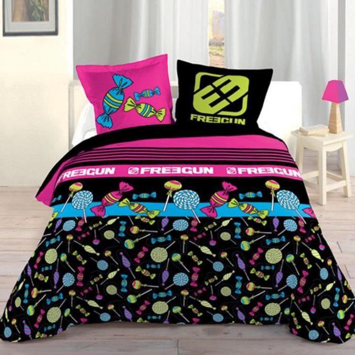 Parure de lit freegun 140 x 200 cm achat vente parure de drap cdiscount - Cdiscount parure de lit ...