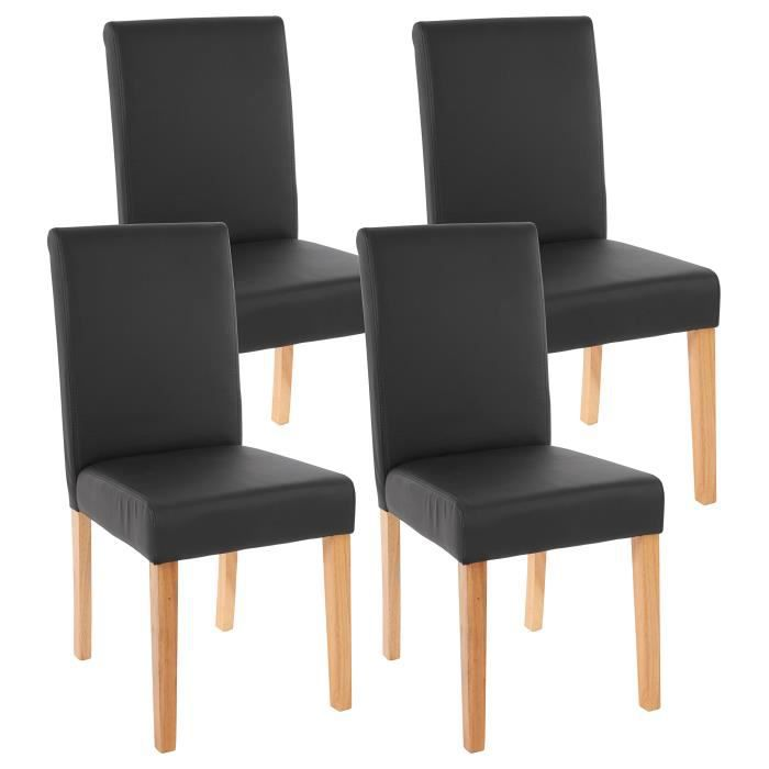 lot de 4 chaises de salle manger simili cuir noir m t achat vente chaise cdiscount. Black Bedroom Furniture Sets. Home Design Ideas