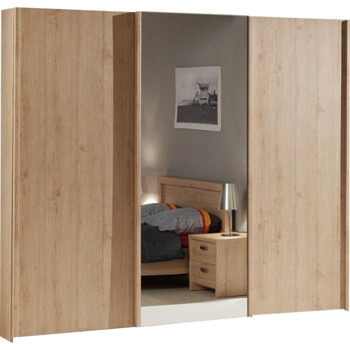 Armoire bois 3 portes coulissantes couleur ch ne achat for Armoire chambre portes coulissantes