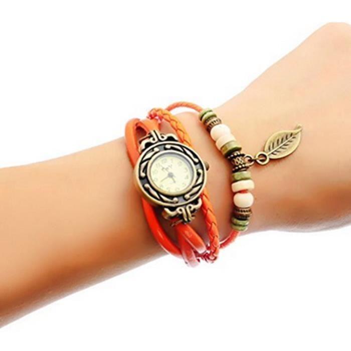 Femme vintage retro tisser autour bracelet feuille d cor bracelet montre achat vente montre for Montre decoration