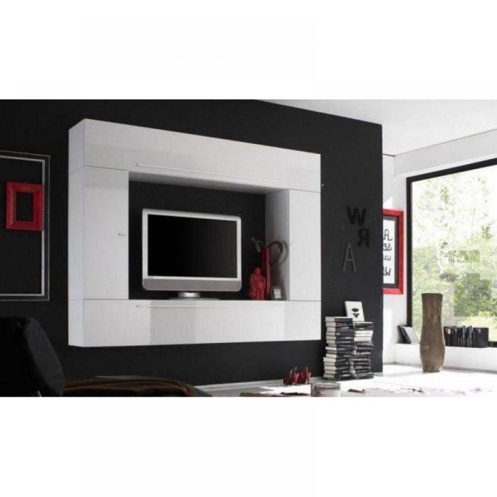 composition murale tv design primera 5 laque bl achat vente meuble tv composition murale. Black Bedroom Furniture Sets. Home Design Ideas