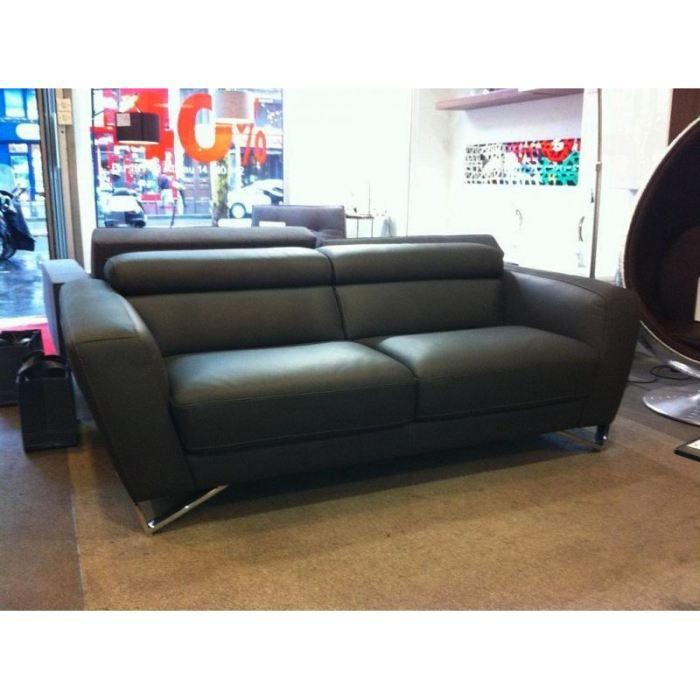 canap 3 4 places itaca nicoletti cuir gris assi achat. Black Bedroom Furniture Sets. Home Design Ideas