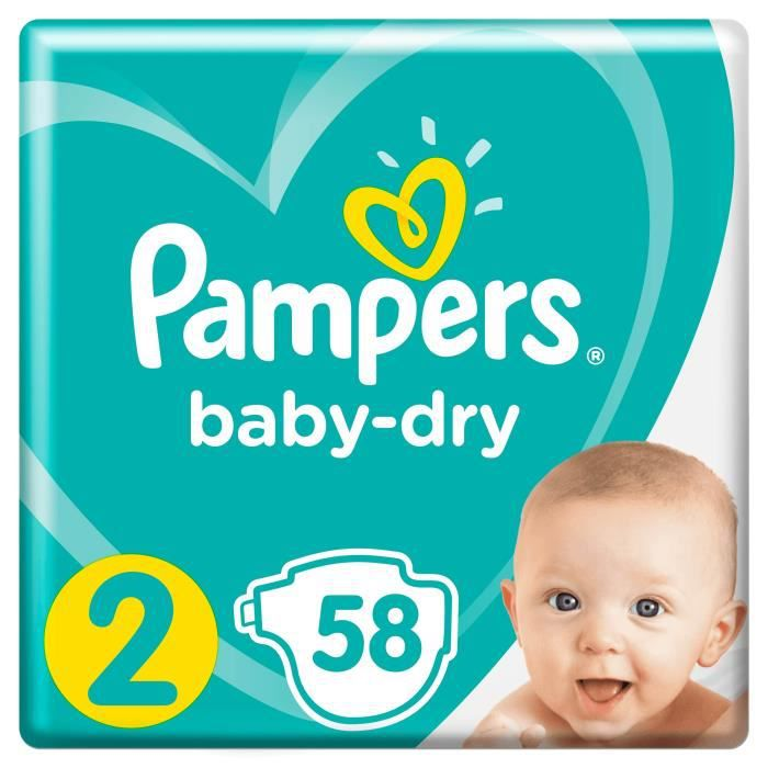 COUCHE PAMPERS Baby Dry Taille 2 - 3 à 6 kg - 58 couches
