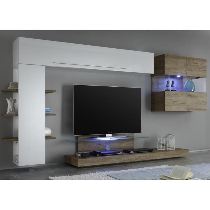 Ensemble meuble tv mural blanc et miel linia option avec - Meuble tv mural blanc ...