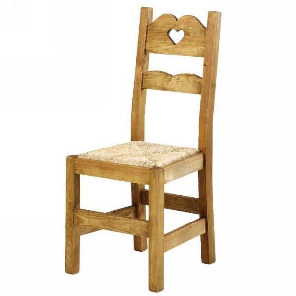 Chaise en pin massif avec petit coeur meuble house achat vente chaise de - Chaise en pin massif ...
