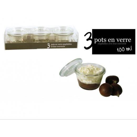 Pot en verre x3 achat vente boites de conservation pot - Pot conservation verre ...